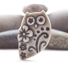 Owl Brooch Pin Warm Grey Glazed Handmade by RuthRobinsonCeramics, $16.50
