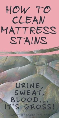 How to Clean ALL TYPES of Mattress Stains - Fed up with your urine smells and stains on your mattress? These tips show you how to remove blood, sweat and pee stains and smell from your bed! Deep Cleaning Tips, House Cleaning Tips, Spring Cleaning, Cleaning Hacks, Pee Stains, Sweat Stains, Remove Stains, Clean Mattress Stains, Mattress Cleaning