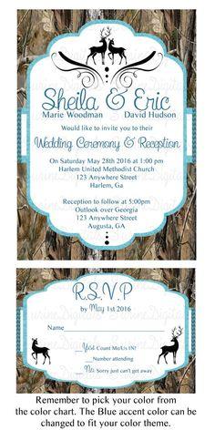 Mossy Oak Camo Wedding Invitation card with matching reply, Camo ...
