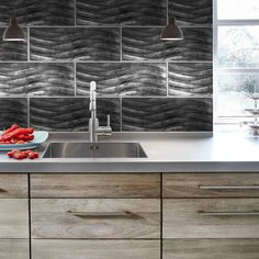 Need texture for your industrial kitchen? Try Silver Foil Waves. #Backsplash #Style! More options on our website. #tile #JCHDtrends #inspo #homeinspiration #decor #tilework #tileaddiction #instahomes #kitchen #designinspiration #showcasesundays