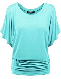 Aenlley Womens Boat Neck Dolman Top Short Sleeve Solid Shirring Drape Jersey Tops Color Blue Size 2XL