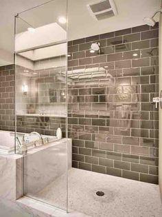 High gloss metallic subway titled bathroom