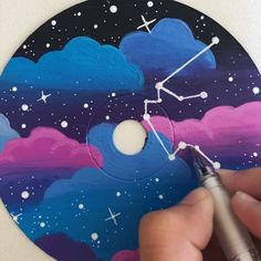 more of my cd paintings! (the cds are blank 😊) both are inspired by ! the first one is with a constellation of aquarius (my… Aesthetic Painting, Aesthetic Art, Record Wall Art, Cd Diy, Mini Canvas Art, Ideias Diy, Vinyl Art, Diy Painting, Painting Inspiration