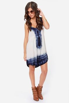 Double Dip Blue and Ivory Tie-Dye Dress