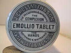 pot lid  transfer printed 1880s j grossmith & son emollio tablet rare hand dug