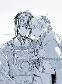 Happy or otherwise known as MikaTsuru day! Manga Boy, Manga Anime, Touken Ranbu Mikazuki, Another Anime, Boyxboy, Awesome Anime, Cute Love, Doujinshi, Asian Art