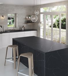 The new Silestone Eternal Charcoal Soapstone offers a sophisticated color with elegant veining.  #design #interiordesign