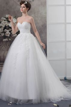Best Selling Ball Gown Sweetheart Sleeveless Sequined Tulle Chapel Train Wedding Dress. $179.99/ Worldwide Shipping.
