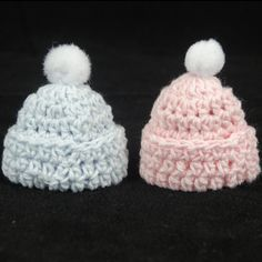 12 Pcs Miniature Crochet Hat Baby Shower Favors Baptism For Decorations  Pink Blue