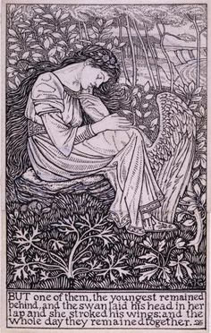 But one of them, the youngest remained behind, an Illustration by Arthur J. Gaskin, for The Wild Swans from Hans Christian Anderson's Fairy Tales, 1894. Pen and ink, 148 x 93 mm | Birmingham Museums and Art Gallery