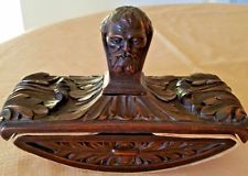 Antique Carved Wood Rocking INK BLOTTER, ARISTOTLE head, Fountain Pen, Desk set