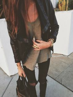 vegan leather jacket + zara basic tee + ragbone denim  + necklace  + cleobella handbag