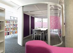 A high spec hireable pod with flexible furnishings and co-ordinated graphics for semi privacy.