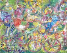 Bicycle painting. Oil on canvas . Colorfull by Albanegalery