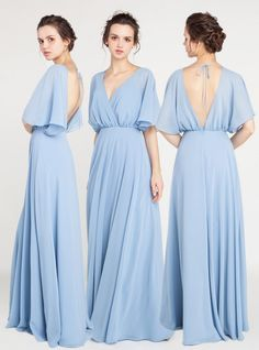 v neck windor blue bridesmaid dresses with sleeves and open back #bluewedding #bridalparty #bridesmaiddresses