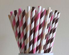 Pink, Brown, and Cream Striped Paper Straws Ice Cream Sundae Bar Party Supplies Party Decor Bar Cart Cake Pop Sticks Graduation