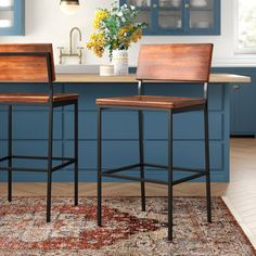 Desmond Solid Wood Bar and Counter Stool Seat Height Bar Stool 30 Seat Height Rustic Bar Stools, Rustic Bar, Kitchen Bar, Kitchen Remodel, Bar Stools Kitchen Island, Bar Counter