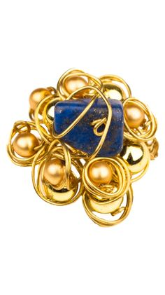 Wire Lapis Flower Ring by Nelina Adiato