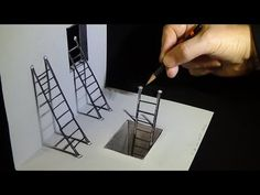 Art 3D Drawing - How to Draw Ladders - Optical Illusion - YouTube