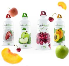Fit20 Studio: Branding and packaging on Behance, fitness and health beverage, use of fruit to literally evoke a sense of healthiness. Neutral colour palette, with green to represent the natural and organic aspect of the beverage.