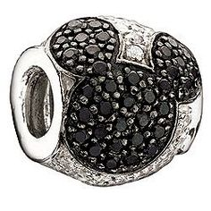 Jeweled Mickey Black and Clear Cubic Zirconia