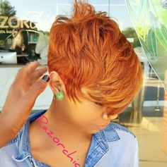 Dope cut and color! Dope cut and color! Short Sassy Hair, Cute Hairstyles For Short Hair, Hairstyles Haircuts, Short Hair Cuts, Curly Hair Styles, Natural Hair Styles, Pixie Cuts, Red Pixie, Natural Hair Cuts