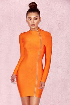 Clothing : Bandage Dresses : 'Eliza' Orange Bandage Curved Zip Mini Dress