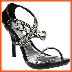 4 Inch Rhinestone Butterfly Shoes Strappy High Heel Sandals Womens Sexy Shoes Size: 8 Colors: Black - Sandals for women (*Amazon Partner-Link)