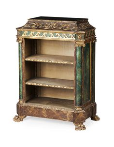 VENETIAN GREEN PAINTED AND PARCEL GILT OPEN BOOKCASE 19TH CENTURY
