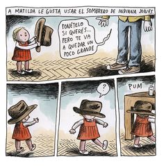 Argentine cartoon Liniers drew these strips about the hair-raising expeditions he takes with Matilda, his adventuress of a daughter. Matilda, Hair Raising, Grande, Tumblr, Cartoon, Books, Kids, Pink, The World