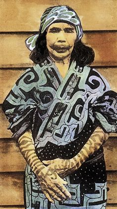 Ainu woman face and hand tattoos