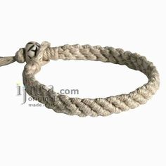 Ultra Soft Natural Hemp Diagonal Woven Surfer Bracelet/Anklet :: Ijitsa