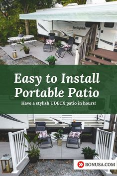 The UDECX patio deck is a portable and easy DIY deck than can be easily installed in just hours. It's perfect for RV's and Motorhomes. #rvs #motorhomes #camping #rv