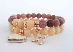 Elegant Gemstone Set of Bracelets, Beige and Brown Set of Bracelets with Gold Tone Elements, Spring Bracelets