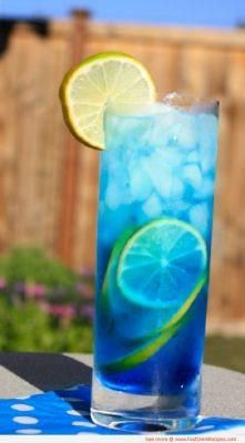 Sex In The Driveway~ 1oz Blue Curacao  1oz Peach Shcnapps 2oz vodka (preferably citrus)  Fill the rest up with Sprite Pour ingredients into an ice filled collins glass and stir.