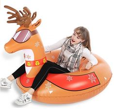Jasonwell Reindeer Inflatable Snow Tube Pool Float Big 47 Inch Heavy Duty Floatie Ride On Blow Up Winter Tubing Summer Outdoor Swimming Pool Party Lounge Floating & Decorations Toys for Kid Adults Classic Christmas Gifts, Christmas Bags, Christmas Birthday, Xmas, Sleds For Kids, Snow Toys, Snow Sled, Outdoor Toys For Kids, Lounge Party