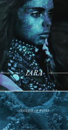 Iara (also known as Lady of Waters, Water Queen and Mother Water) is the Brazilian goddess of water. She is seen as either a water nymph, siren, or mermaid depending upon the context of the story. Iara is a beautiful young woman, connected to a freshwater dolphin, manatee or fish body. She lives in a palace underwater, but, in the afternoon, she comes out to the surface, sitting on a rock by the river combing her hair or dozing under the sun. When she feels a man around she starts to sing…