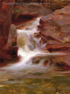 Vermont Waterfall - Oil by Daniel J. Keys, 16 x 12
