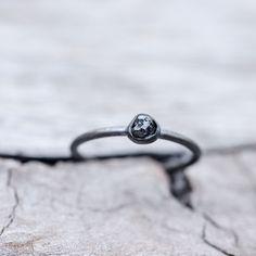 Tiny // Raw Black Diamond Ring