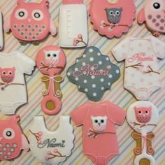 Owl baby shower iced decorated cut out sugar cookies, pink and gray
