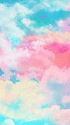 Mobile wallpaper with watercolor sky Free Vector Cute Pastel Wallpaper, Cute Patterns Wallpaper, Cloud Wallpaper, Rainbow Wallpaper, Aesthetic Pastel Wallpaper, Iphone Background Wallpaper, Pink Wallpaper, Galaxy Wallpaper, Mobile Wallpaper