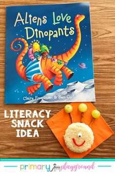 Underpants is a magical word in Kindergarten. Why not go with it and read some fun underpants stories! For this week's literacy snack idea, we're reading Aliens Love Dinopants. Come see our snack idea and free printable to go along with the book. #preschool #kindergarten #booksnack #literacysnack