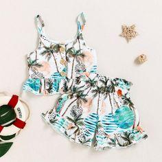 Kids Baby Girls Summer Outfits Clothes T-shirt Tops+Casual Denim Skirt 2 PCS Set - 4-5YRS