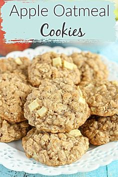 These thick, soft, and chewy apple oatmeal cookies are guaranteed to be your new favorite cookie for fall! Filled with delicious soft apples, these cookies will stay moist for days! If you want to wow your family and friends with a new fall dessert, Mini Desserts, Apple Dessert Recipes, Oatmeal Cookie Recipes, Oatmeal Dessert, Apple Baking Recipes, Fall Cookie Recipes, Apple Cookie Recipe, Desserts With Apples, Easy Fall Desserts