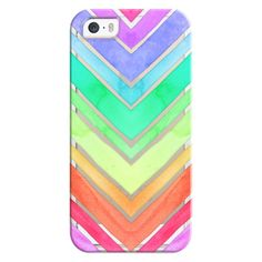 iPhone 6 Plus/6/5/5s/5c Bezel Case - Rainbow Watercolor Chevron (€32) ❤ liked on Polyvore featuring accessories, tech accessories, phone cases, phones, cases, electronics, iphone case, apple iphone cases, chevron iphone case and iphone cover case