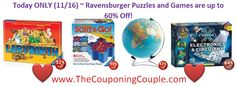 Today only you can grab these super cool Ravensburger Puzzles and Games for up to 60% off! These would make great x-mas gifts that are not only fun but educational!  #ExtremeCouponing #Coupons #Couponing  Visit us at http://www.thecouponingcouple.com for more great posts!