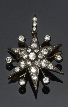 A Victorian diamond star brooch/pendant  Gold and silver mounted, set throughout with old-cut diamonds, on diamond set three stone bale, with detachable brooch fitting, length including bale 4.2cm.