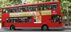 Double decker London bus with advertisement for Pride and Prejudice on the side.