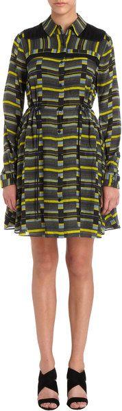 Proenza Schouler Green Geometric Print Georgette Shirt Dress