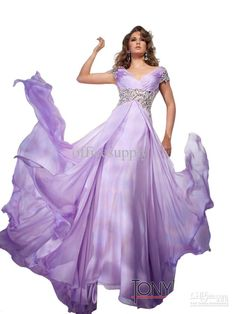Wholesale Chiffon Cap Sleeved Lavender Prom Dresses Pageant Gown with Rhinestones 212C87, $140.91/Piece | DHgate